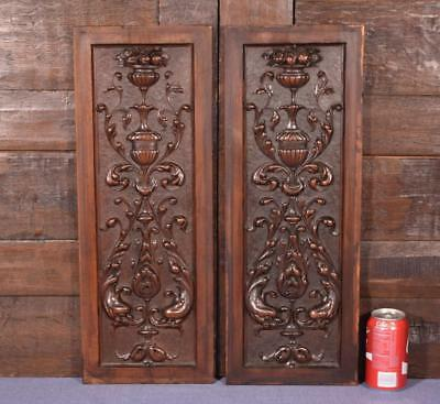 Pair of Antique French Hand Carved Walnut Wood Panels