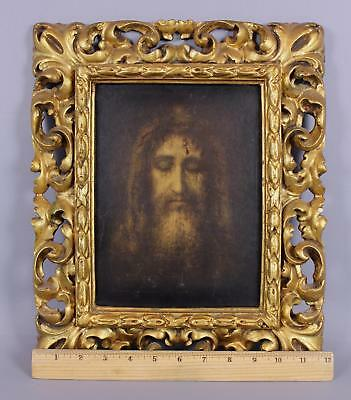 Small Antique Italian Carved & Gilded Wood Rococo Florentine Oil Painting Frame
