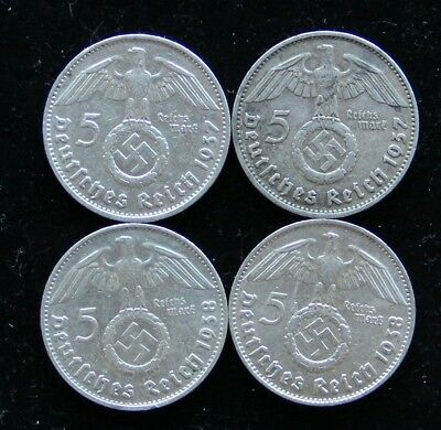 German Four (4) Coin 5 Reichsmark Silver Set 2x 1937-D & 2x 1938-D Circ