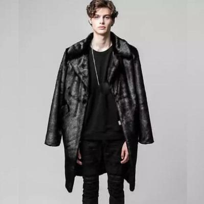 Mens Luxury Occident Faux Fur Parka Coat Long Motor Business Outwear Jacket coat