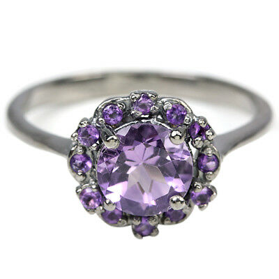 Natural Aaa Purple Amethyst Round & Cz Sterling 925 Silver Ring Size 7.75