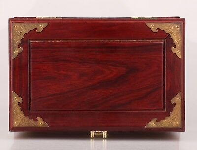 Vintage Chinese Red Wood Handmade Jewelry Box Oversized With Makeup Mirror