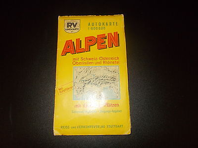 Map Car Map Rv Map 87 Alps with Switzerland Austria etc. um 1950