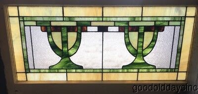"Antique Stained Leaded Glass Transom Window 42"" by 21""  Circa 1920"