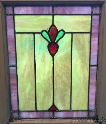"Antique Chicago Stained Leaded Glass Window 25"" by 20' circa 1920"