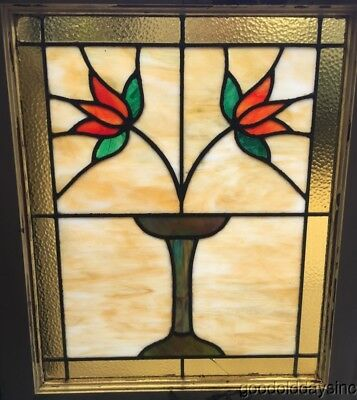 "Antique Classic Chicago Bungalow Style Stained Leaded Glass Window 27"" by 22"""