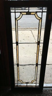 "1 of 3 Antique Stained Leaded Glass Transom Window / Cabinet Door 45"" x 18"""