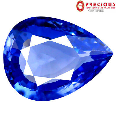 8.42 ct PGTL Certified Excellent Pear (15 x 11 mm) Bluish Violet Tanzanite