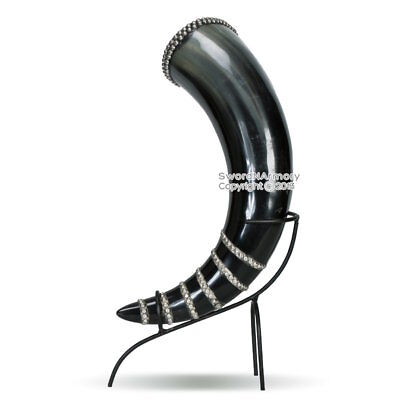 Medieval Viking Norweigian Studded Cow Drinking Horn with Rack Renaissance Fair