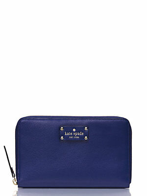 NWT Kate Spade wellesley zip Around travel wallet Emperor Blue WLRU1154