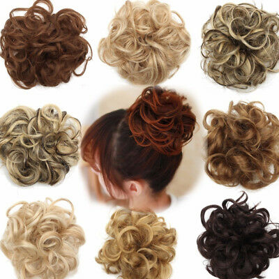 Women Curly Wave Wig Hair Bun Clip Comb In Hair Extension Chignon Hairpiece Gift