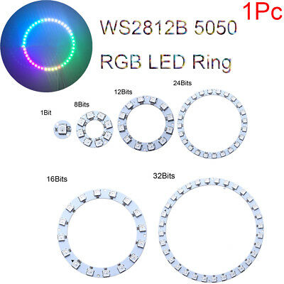 1Pc WS2812B 5050 RGB LED Ring 1- 32Bit Built-in Integrated Drivers Lamp