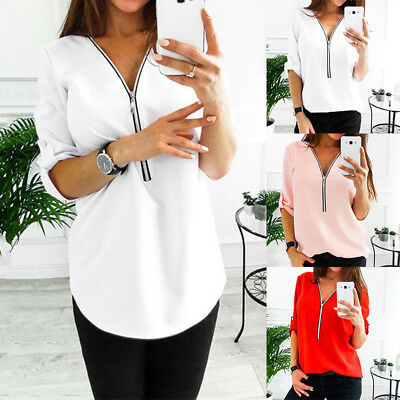 Women Chiffon Tops Long Sleeve Sexy Zip V Neck T Shirt Casual Blouse Lady Shirt