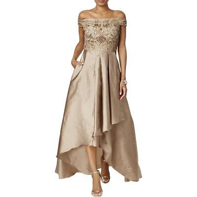 070a913f2ba81 Adrianna Papell Womens Bronze Off-The-Shoulder Formal Dress Gown 6 BHFO 7736