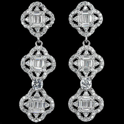 40X12 Mm. Dazzling Aaa White Cubic Zirconia Round Sterling 925 Silver Earring