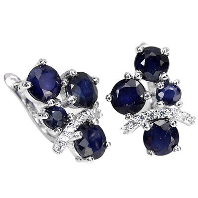 Deluxe Genuine Aaa Blue Sapphire Round & White Cz Sterling 925 Silver Earring