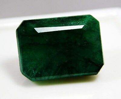 13.10 Cts Natural Emerald Cut Colombian Green Emerald Loose Gemstone. 2301
