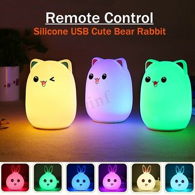 Silicone Cute Bunny Rabbit Bear Nursery LED Night Light 7 Color Breathing Lamps