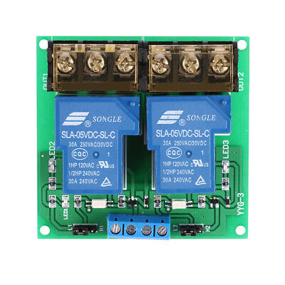 2-Channel DC 24V 30A Relay Board Module Optocoupler Isolation High/Low G5N6