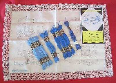 VINTAGE 'FLAXALL' IRISH LINEN TRAY CLOTH-51 x 35 cm~WILLOW PATTERN~w/COTTONS-NEW