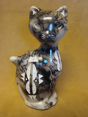Native American Pottery Cat Sculpture by Vail! Navajo Pot PT0114