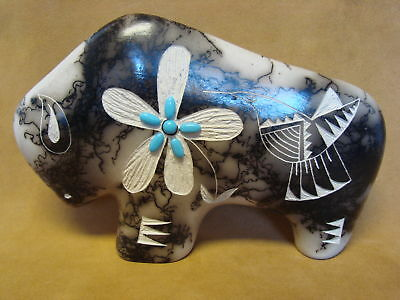 Large Navajo Indian Pottery Horse Hair Etched Buffalo Sculpture! PT0121