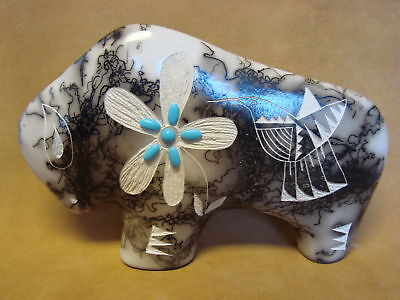 Large Navajo Indian Pottery Horse Hair Etched Buffalo Sculpture! PT0119