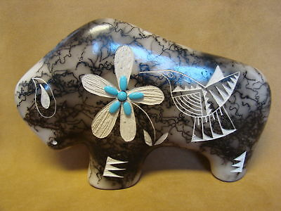 Large Navajo Indian Pottery Horse Hair Etched Buffalo Sculpture! PT0120