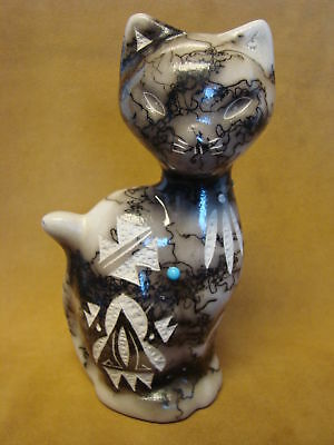 Native American Pottery Cat Sculpture by Vail! Navajo Pot PT0113