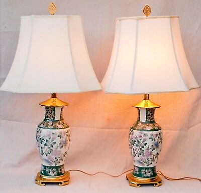 Vintage 1980's PAIR Hand Painted Chinese Porcelain Lamps Brass Bases and Caps