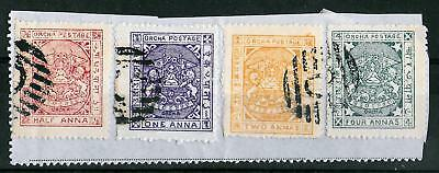 ORCHHA STATE INDIA 1897 Hinged on Paper Set of 4 Stamps