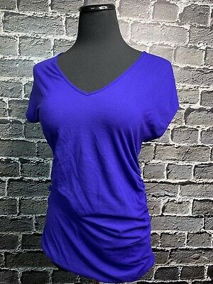 A Pea In The Pod Maternity Top ~ Super Soft Comfy Ruched Sides Violet Blue Sz M