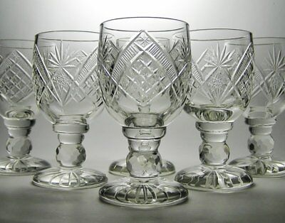 6 Vintage ANTIQUE Hand CUT GLASS GOBLETS *Possibly AMERICAN BRILLIANT PERIOD ABP