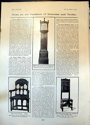 Old Print Queen Anne Clock Oak Chair CharlesGen Hind Earl Cawdor 1905