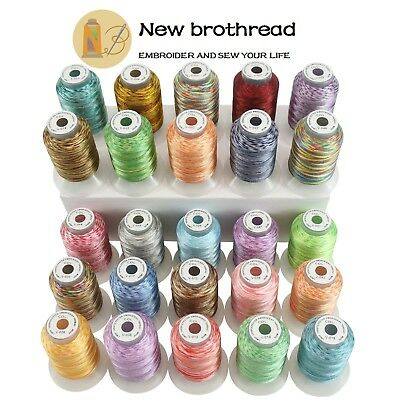 New brothread 25 Colours Variegated Polyester Embroidery Machine Thread Kit 500M