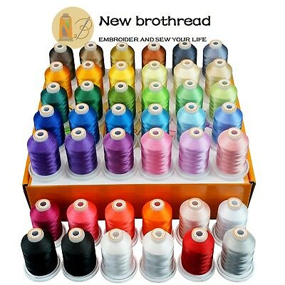 New brothread Polyester Sewing & Embroidery Machine Thread Kit - 42 Spools 1000M