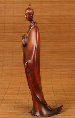 antique boxwood chinese old boxwood hand carved wisdom kwan-yin statue figure