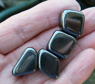 4 - Strong Magnetic Hematite Tumblestones Stones Crystals - Gift Bag & Id Card