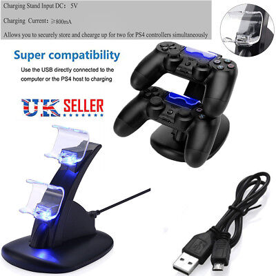 PS4 Dual controller Charger Charging Dock 2 USB Station Stand for Sony Slim NEW