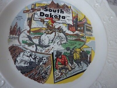 "Vintage 10"" State Souvenir Plate South Dakota Milk Glass w/ Great Graphics"