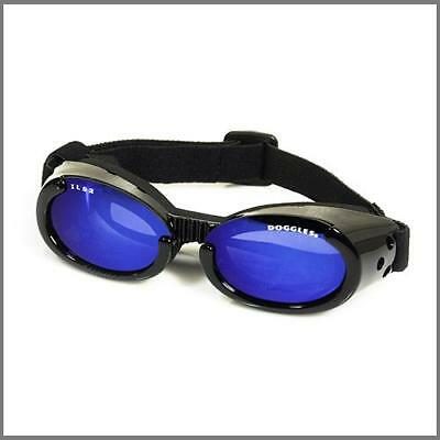 SUNGLASSES FOR DOGS by Doggles - BLACK FRAME / BLUE MIRROR LENS - LARGE