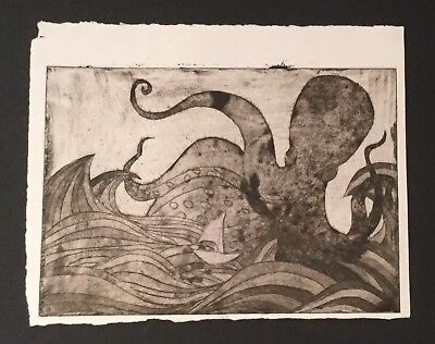 Octopus waves  & Boat Intaglio Seascape using Aquatint, Drypoint, Etching, beige