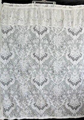 """Vintage Lace White Shower Curtain with attached Valance .. """"shabby chic"""""""