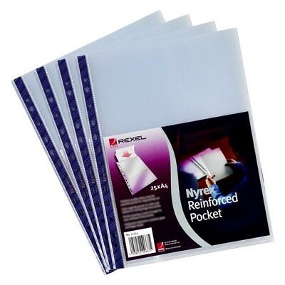 25 x Rexel 12233 Nyrex Clear A4 Top Opening Punched Pockets Blue Strip P4XC#