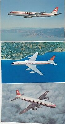 3 Diff. post cards unused-airline issue DC-8-62,DC8,DC6 B NO Reserve