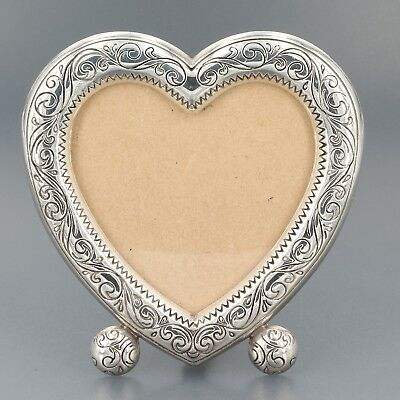 "Brighton Silver Plated Sweetheart Heart Shaped Picture Frame 3-1/2"" x 3-3/8"""