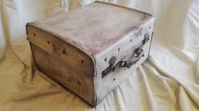 Well Travelled Vintage White Leather Suitcase