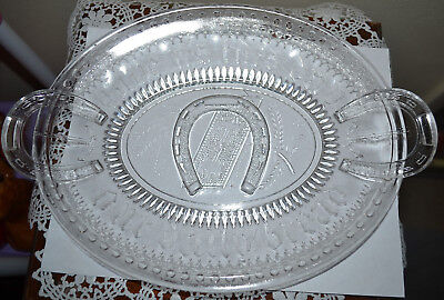 Amazing! Antique Late 1800's Patterned Clear Glass Oval Horse Shoe Bread Plate