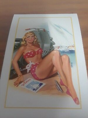 VESPA SCOOTER POSTCARD PIN-UP GIRL UNUSED $5.99 free shipping
