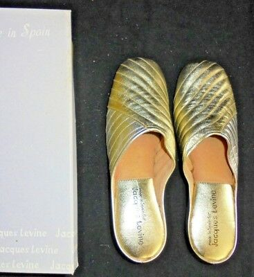 1026c38b89f  3 Vintage Jacques Levine Slippers Womens Wedge Size 7.5 Gold Silver New in  Box